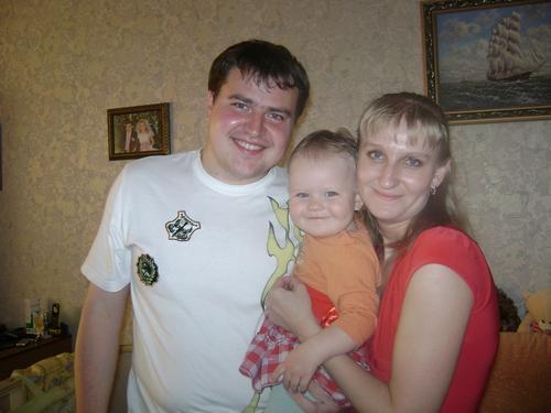 Я с любимым мужем Женей и Доченкой Лизочкой 19.05.2010